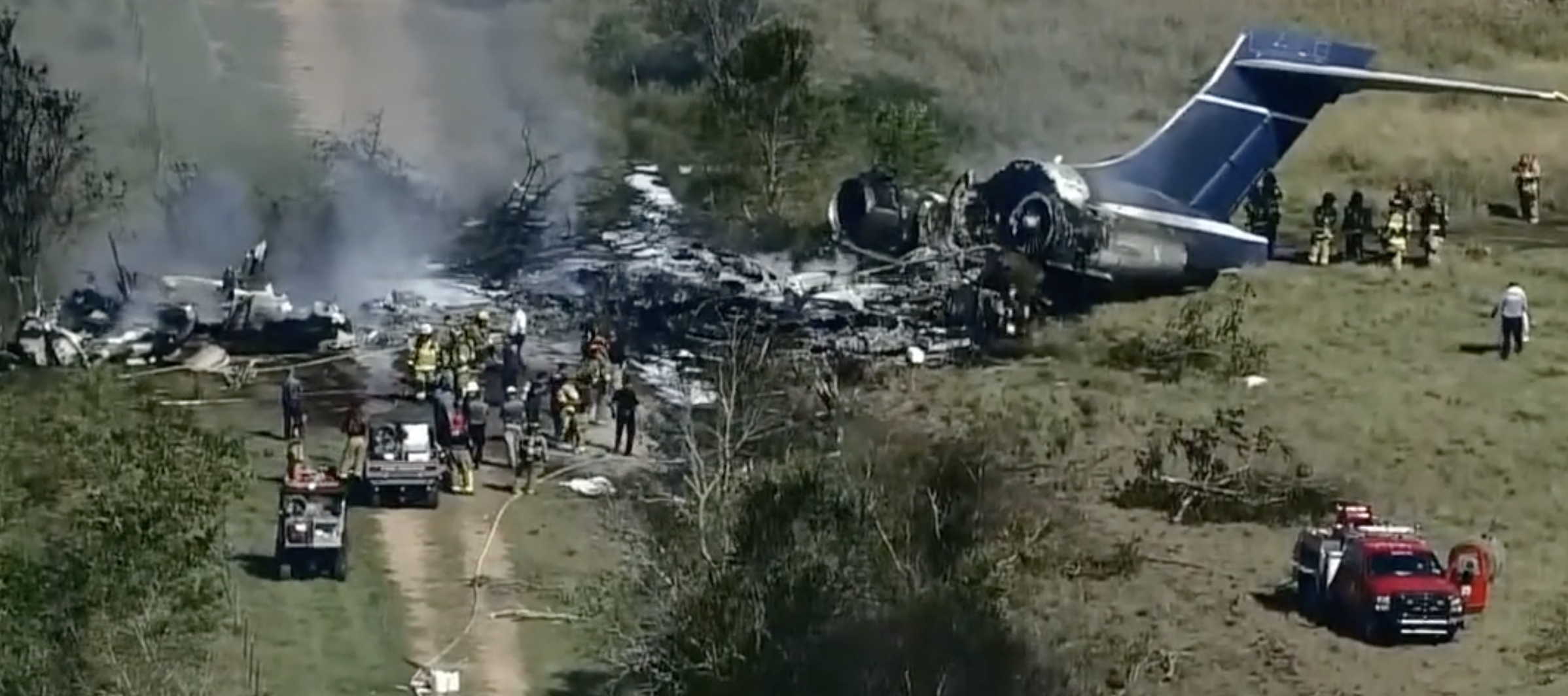 ACCIDENT: A plane has crashed and burst into flames near Houston Executive Airport
