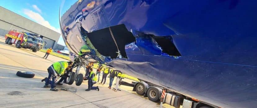 INCIDENT: Ryanair Boeing 737 sustained substantial damage in a tug incident